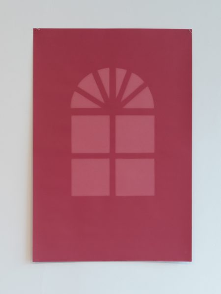 Barb Choit French Door, Red, Exposure Time 480 Hours 2012 Acid free photographic backdrop paper, ultraviolet light 29 ¾ x 20 inches