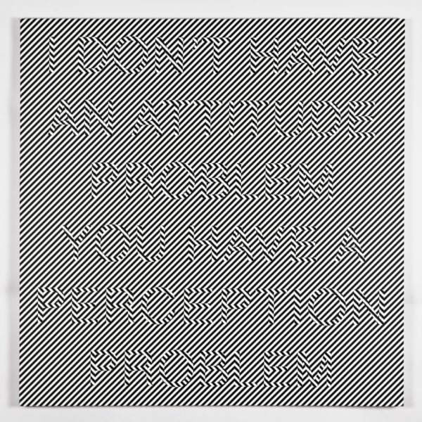 """""""Untitled op art #1 (I DON'T HAVE AN ATTITUDE PROBLEM, YOU HAVE A PERCEPTION PROBLEM),"""" 2011, archival pigment ink on canvas 36 x 36 inches"""