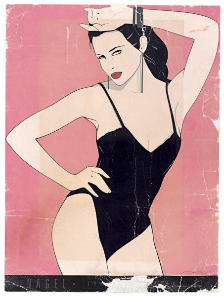 Patrick Nagel, Black Teddy, Bleach Bath, Fine Art Poster, UV Exp